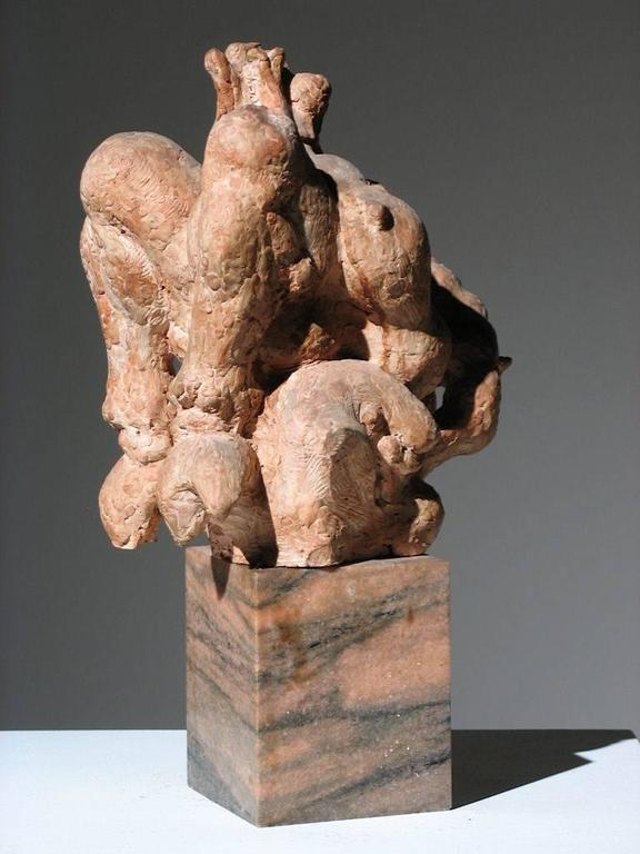 Pan Playing Flute with Birds  - American Modern Sculpture by Robert Lohman
