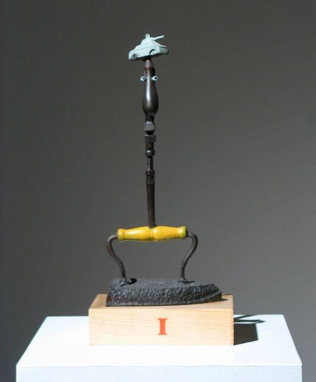 Iron Man Found Art Sculpture - Brown Figurative Sculpture by Adnan Charara