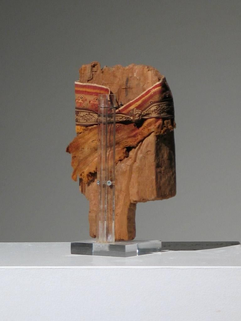Chancay Mummy Mask - Brown Figurative Sculpture by Unknown
