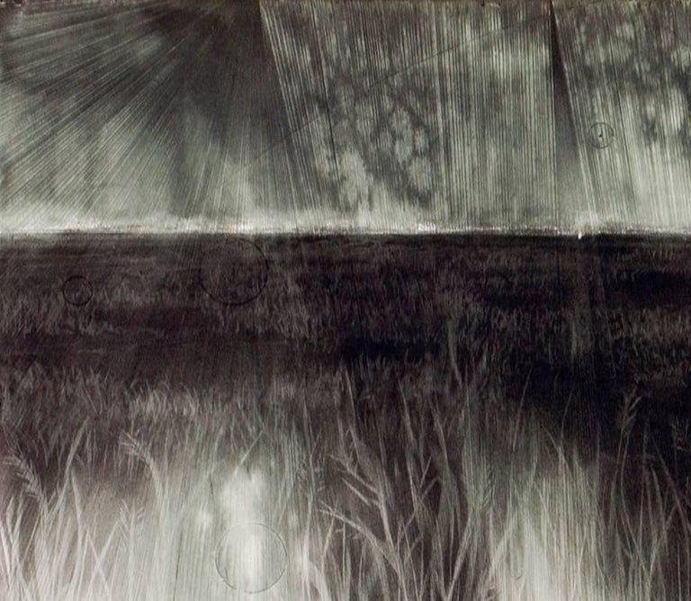 Judith Brandon Battlefield 2007 Signed & Dated Lower-Right Ink, Charcoal & Pastel on Incised Printmaking Paper 21 x 44 inches  Judith Brandon's mastery of drawing is evident in every piece she creates, but it is the way in which she uses that