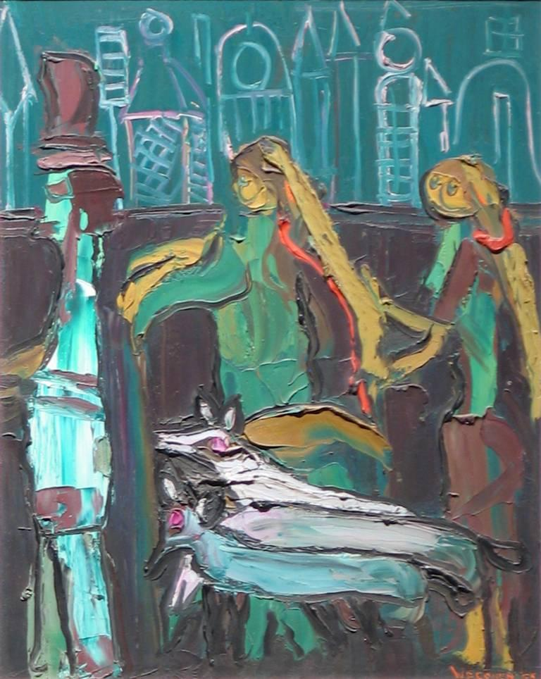 W.F. Cohen Figurative Painting - Dog Walkers