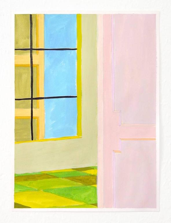 Heath West Pink And Green Interior Painting For Sale At
