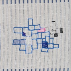 Untitled (Blue Sewing on Burlap)
