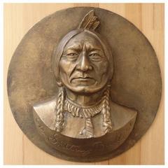Gilbert Poillerat - Sitting Bull - Bronze Sculpture