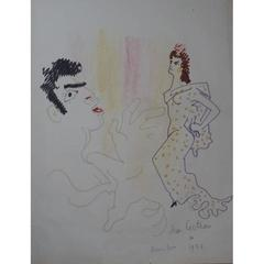 Jean Cocteau - Original Drawing - Torero y senorita