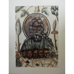 Leonard Foujita - God the Father - Rare Original Gouache
