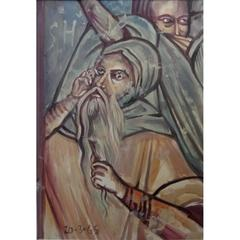 Leonard Foujita - Le Prophète - Religious Original Gouache