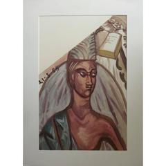 Leonard Foujita - Une Sainte - Religious Original Gouache