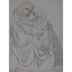 Leonard Foujita - The Kiss - Monumental Original Drawing