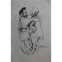 Leonard Foujita - L'Amitié - Friendship - Original Drawing