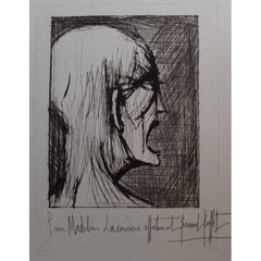 Bernard Buffet - L'Enfer - Damné ricanant - Original Signed Lithograph