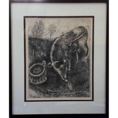 Marc Chagall - La grenouille et le boeuf - Original Engraving