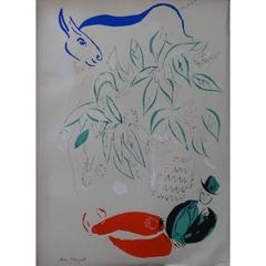 Marc Chagall - Couple with Blue Donkey - Original Lithograph