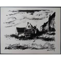 Maurice de Vlaminck - House in Rueil - Signed Lithograph