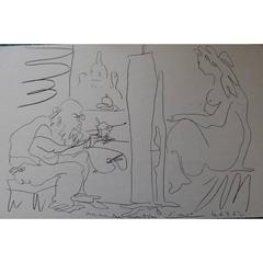 Pablo Picasso - Painter and his Model - Signed Beautiful Litograph