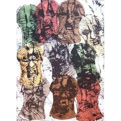 Arman - Songué Masks accumulation - Original Signed Lithograph