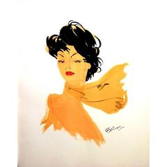 Domergue - Dark Hair Lady with a Scarf - Original Signed Lithograph