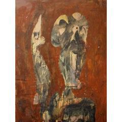 Simon Hantai - 'André Breton' - Rare Original Signed Oil Painting
