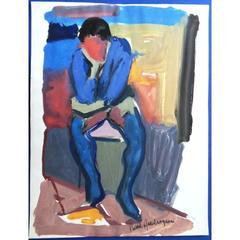Pierre Ambrogiani - Thinker - Signed Painting