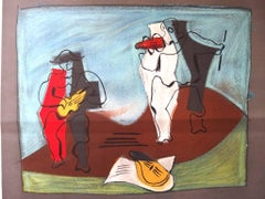 after Pablo Picasso - Harlequin and Pierrot -  Lithograph