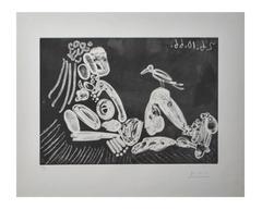 Pablo Picasso - Femme à l'Oiseau - Rare Handsigned Etching