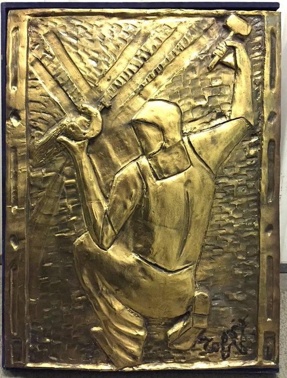 Louis Toffoli  - The Blacksmith, Original Bronze Bas Relief
