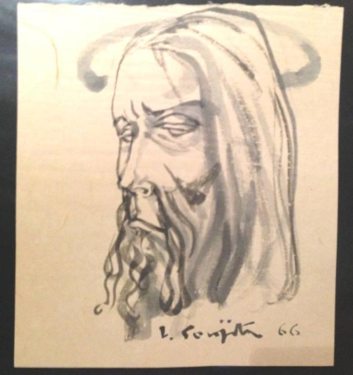 "Tsuguharu Foujita - Signed Watercolor Drawing - ""Man's Head"" - 1966"