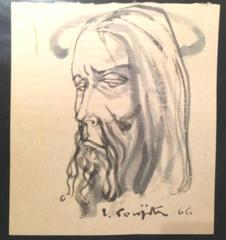 "Tsuguharu Foujita - Signed Watercolor Drawing - ""Man's Head"" - 1966"