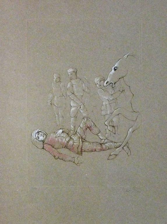 Leonor Fini - Man Fallen From Horse, Hand-Signed and Numbered Engraving