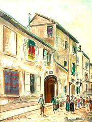Maurice Utrillo (After) - Rue Cortot in Montmartre, Signed Lithographic Poster