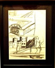 Auguste Chabaud - Signed Drawing - Bridge and Square in Paris, Montmartre
