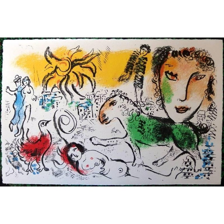 Marc Chagall - The Green Horse - Original Lithograph - Print by Marc Chagall