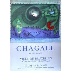 Marc Chagall - Bruxelles Oeuvre Gravé - vintage 1970s exhibition poster