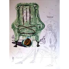 Salvador Dali - Pneumatic Breathing Chair - Original HandSigned Etching