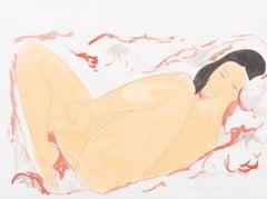 Alain Bonnefoit - Lying Nude - Acrylic Painting
