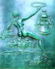 Salvador Dali - Tribute to philosophy - Signed Bas-Relief in Patinated Bronze