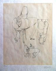 Hans Bellmer - She is Sitting - HandSigned Etching