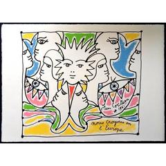 Jean Cocteau - Europe's Colors - Original Lithograph