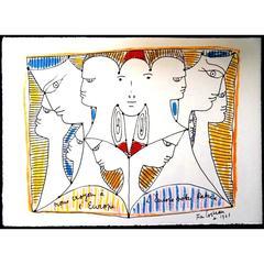 Jean Cocteau - Europe's Diversity - Original Lithograph