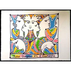 Jean Cocteau - Europe and the World - Original Lithograph
