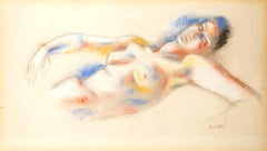 André Lhote - Original Signed Pastel - Lying Woman