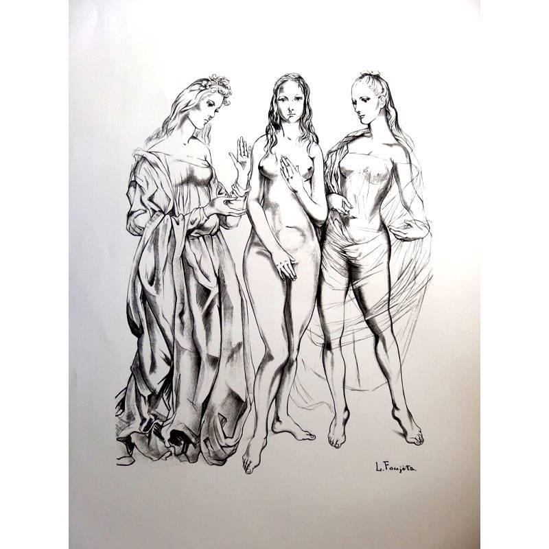 Léonard Foujita - The Three Graces - Original Lithograph
