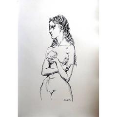 Léonard Foujita - Eve With an Apple - Original Lithograph