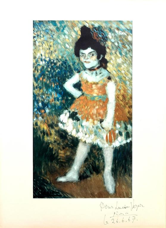 (after) Pablo Picasso Portrait Print - After Pablo Picasso - The Dwarf Dancer - Handsigned and Dedicated Lithograph