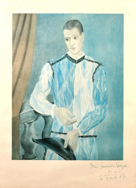 (after) Pablo Picasso Portrait Print - Picasso (after) - Harlequin, from The Barcelona Suite - Handsigned Lithograph