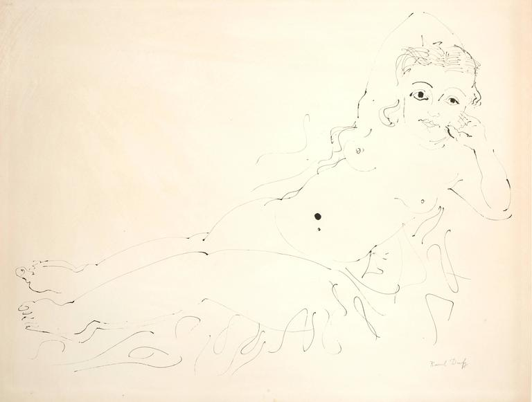 Raoul Dufy - Relaxation - Original Signed Ink Drawing - Art by Raoul Dufy