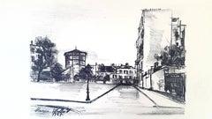 Maurice Utrillo - Parisian Street  - transfer lithograph