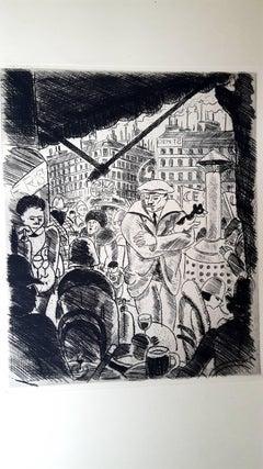 Pierre Falké - Paris' Terrasse - Original Etching