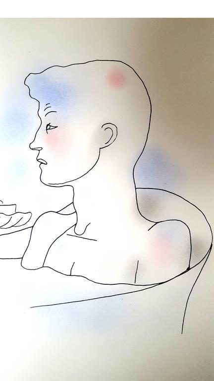 Jean Cocteau - Bath - Original Handcolored Lithograph