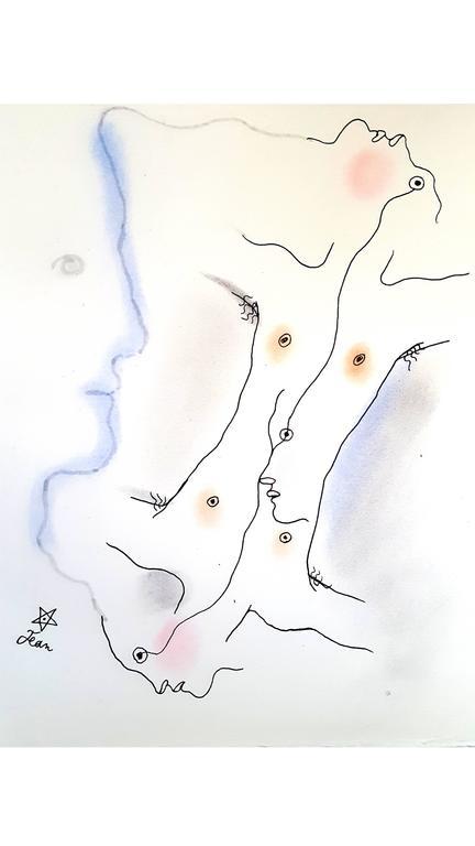 Jean Cocteau - Dual - Original Handcolored Lithograph